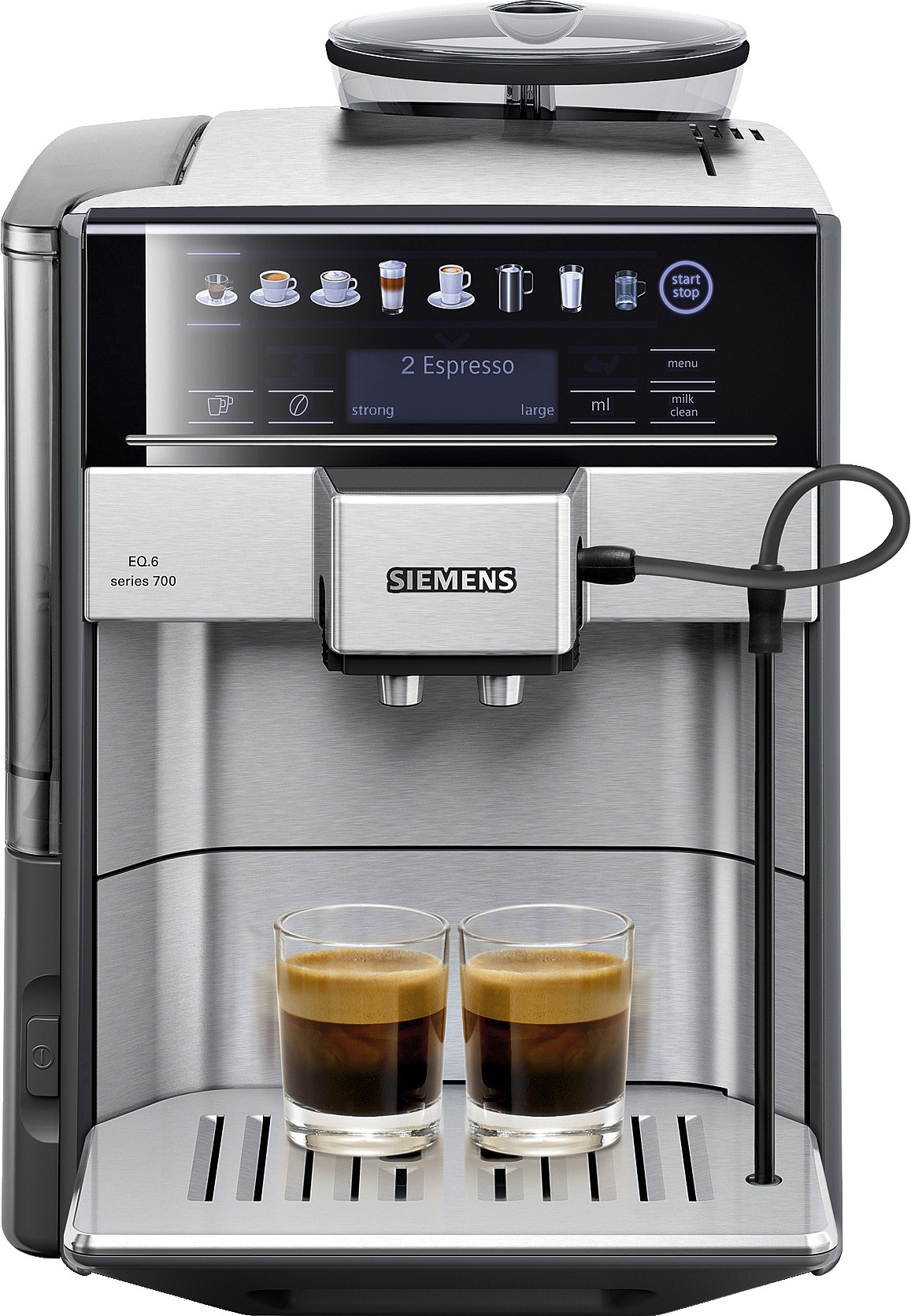 siemens eq 6 series 700 automatic coffee machine steel te607203rw crema. Black Bedroom Furniture Sets. Home Design Ideas