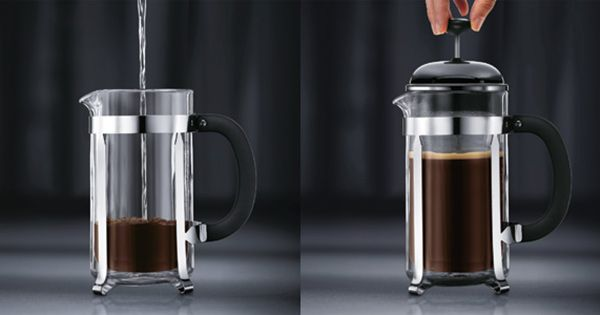 Instructions for preparing coffee with a french press