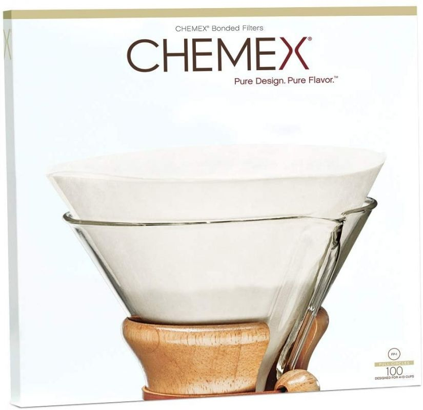 Chemex Unfolded Circles pyöreät suodatinpaperit 5-13 kupin kannuun, 100 kpl