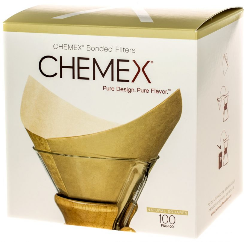 Chemex Pre-folded Squares Natural Paper Coffee Filters for 6, 8 and 10 Cup Coffeemaker, 100 pcs