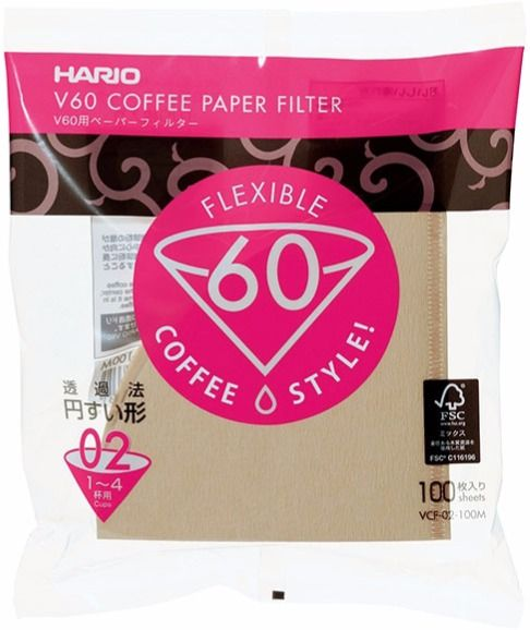 Hario V60 Size 02 Brown Coffee Paper Filters 100 pcs