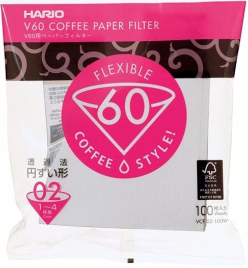 Hario V60 Size 02 Coffee Paper Filters 100 pcs