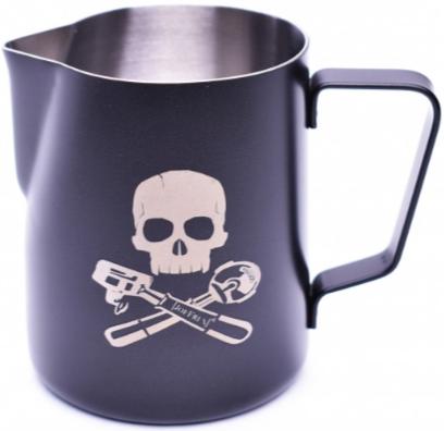 JoeFrex Powder Coated Milk Pitcher 350 ml, Black Skull