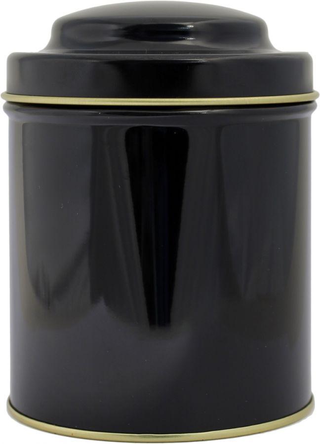 Musta pyöreä teepurkki 125 g