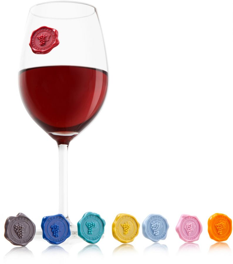 Vacu Vin glasmarkörer med druvsorter 8 st