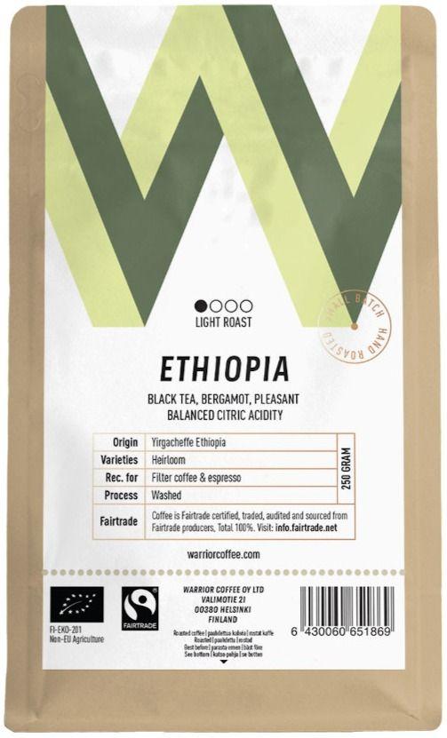 Warrior Coffee Ethiopia Yirgacheffe 250 g kahvipavut