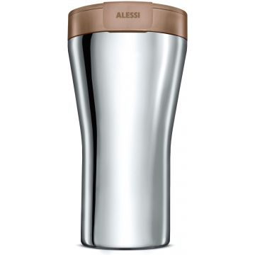 Alessi GIA24 Caffa Double Walled Travel Mug 400 ml, Brown