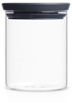 Brabantia glass jar with grey lid, 0.6 litres